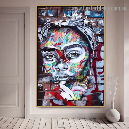 Abstract Woman Face Figure Graffiti Portrait Picture Canvas Print for Room Wall Adornment