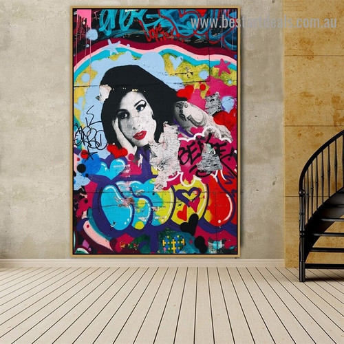 Red Lip Girl Abstract Figure Graffiti Artwork Picture Canvas Print for Room Wall Garniture