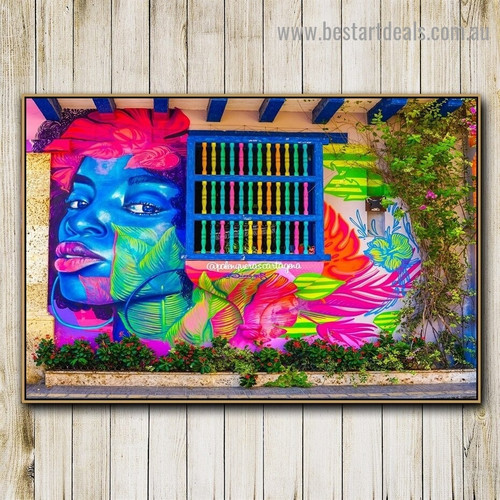 Floral Abstract Face Botanical Figure Graffiti Portrait Picture Canvas Print for Room Wall Adornment