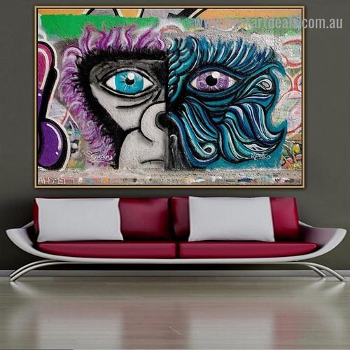 Half Gorilla Face Animal Abstract Graffiti Portrait Picture Canvas Print for Room Wall Garnish