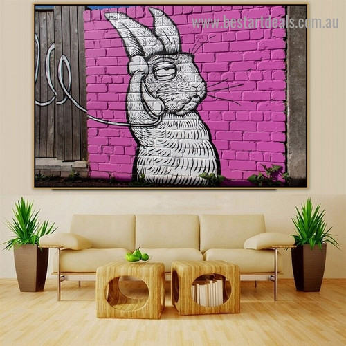 Calling Rabbit Animal Graffiti Artwork Picture Canvas Print for Room Wall Décor
