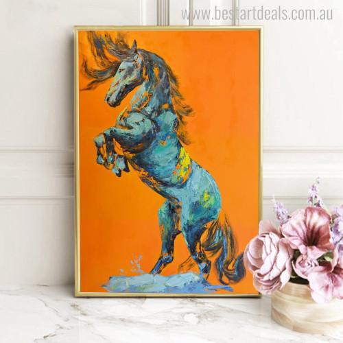 Blue Horse Animal Contemporary Canvas Artwork Print for Home Wall Getup