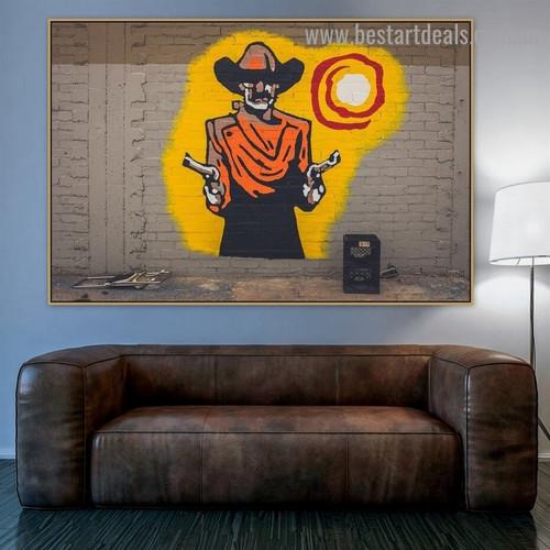 Gun Man Figure Graffiti Portrait Picture Canvas Print for Room Wall Ornament