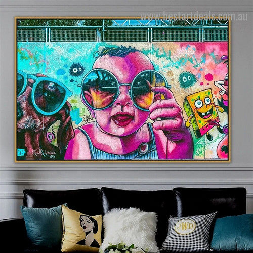 Baby with Sunglasses Animal Kids Abstract Graffiti Artwork Image Canvas Print for Room Wall Décor