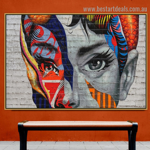 Colorful Face Abstract Figure Graffiti Portrait Photo Canvas Print for Room Wall Adornment