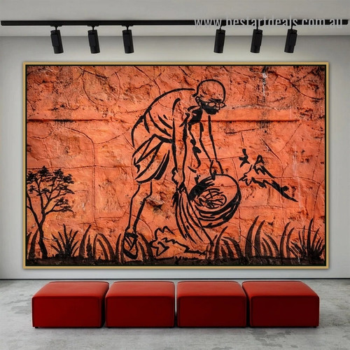 Mahatma Gandhi Figure Botanical Graffiti Artwork Picture Canvas Print for Room Wall Décor