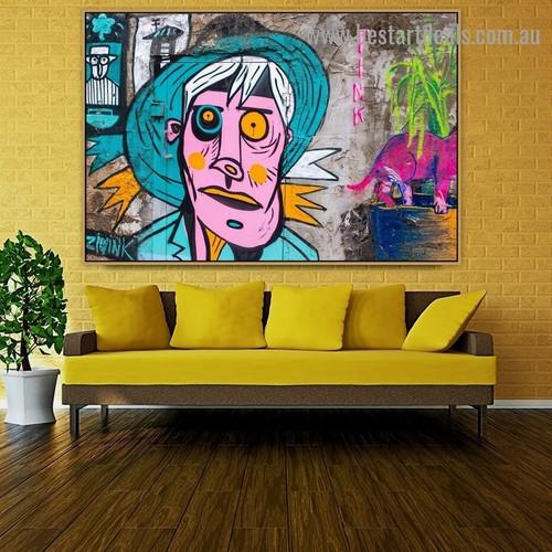 Multicolored Man Face Abstract Figure Graffiti Portrait Picture Canvas Print for Room Wall Ornament
