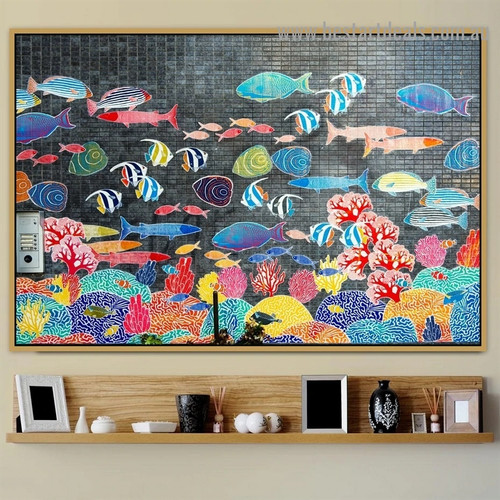 Colorful Fish Herd Animal Botanical Graffiti Portrait Picture Canvas Print for Room Wall Garniture