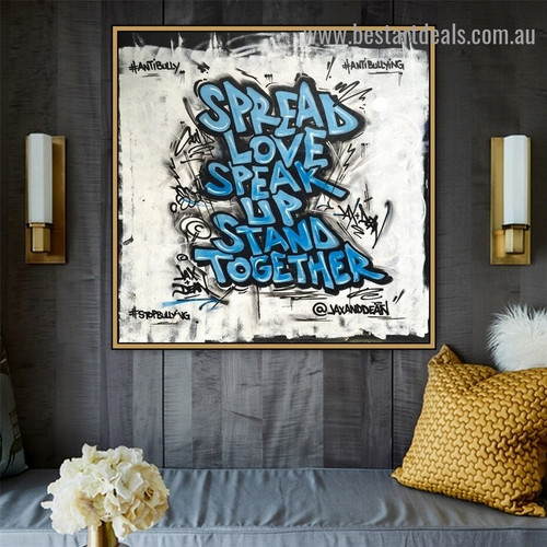 Spread Love Typography Graffiti Portrait Painting Canvas Print for Room Wall Drape