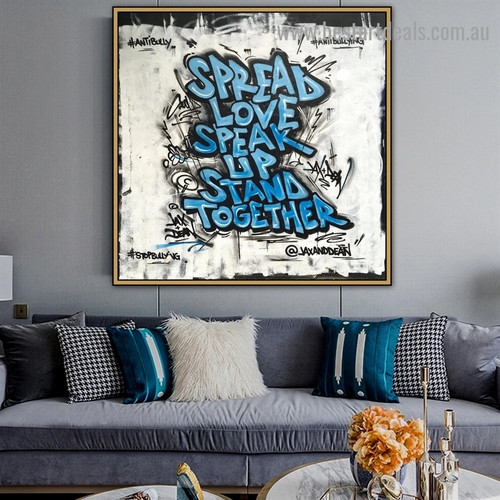 Spread Love Typography Graffiti Portrait Picture Canvas Print for Room Wall Décor