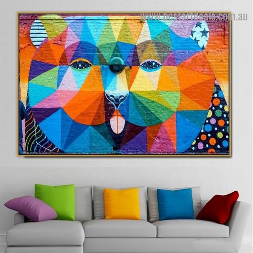 Colorful Panda Face Illustration Abstract Graffiti Artwork Photo Canvas Print for Room Wall Garniture