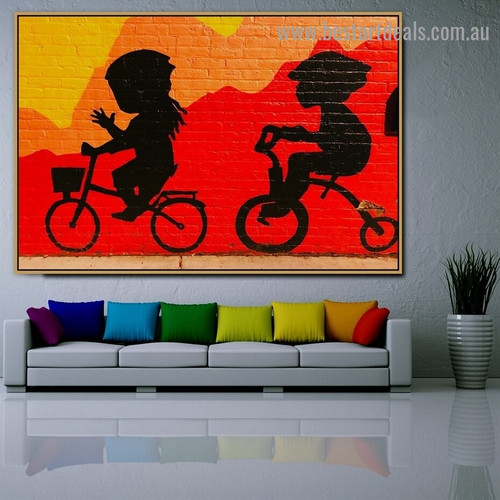 Toddler Riding Bicycle Kids Graffiti Portrait Photo Canvas Print for Room Wall Adornment