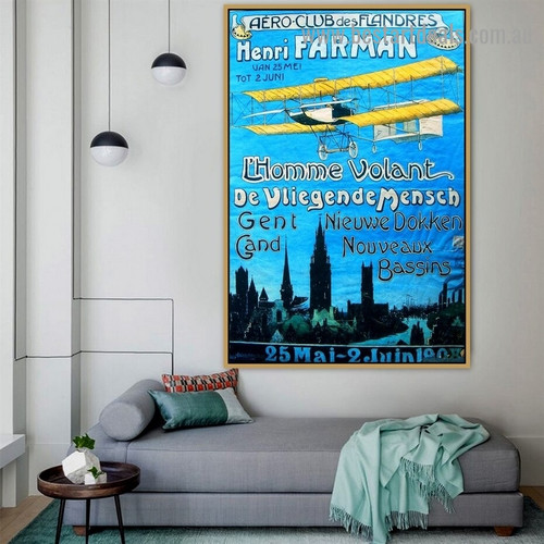 Aero Club Typography Travel City Vintage Advertisement Poster Artwork Photo Canvas Print for Room Wall Ornament