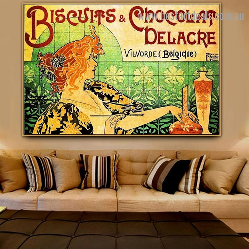 Biscuits and Chocolat Delacre Figure Botanical Vintage Advertisement Poster Portrait Photo Canvas Print for Room Wall Adornment