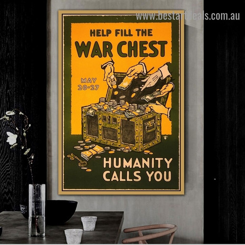 Help Fill the War Chest Figure Vintage Retro Advertisement Poster Portrait Photo Canvas Print for Room Wall Decoration