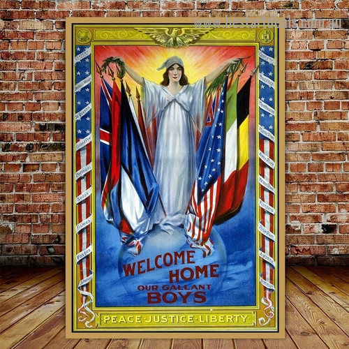 Welcome Home Our Gallant Boys Figure Vintage Retro Advertisement Poster Portrait Painting Canvas Print for Room Wall Adornment