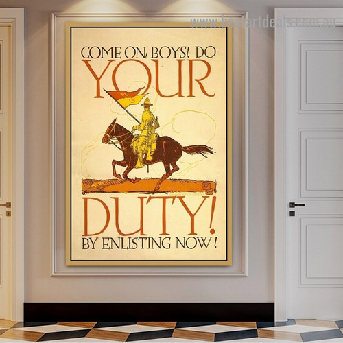 Come on Boys Do Your Duty by Enlisting Now Animal Figure Vintage Retro Advertisement Poster Artwork Photo Canvas Print for Room Wall Adornment