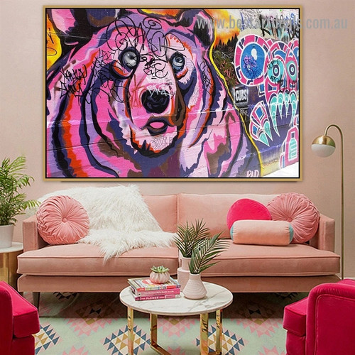 Colorful Bear Animal Typography Graffiti Portrait Picture Canvas Print for Room Wall Garniture