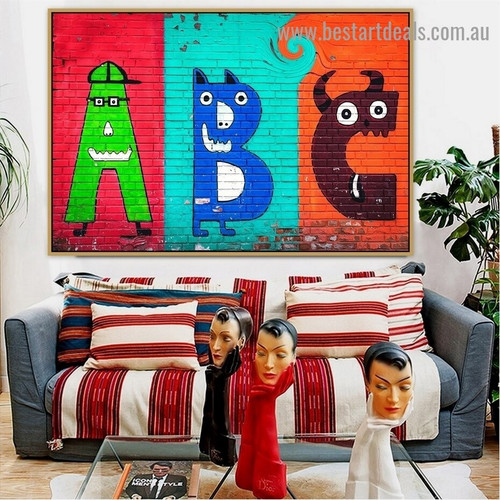 A B C Monsters Kids Typography Graffiti Portrait Painting Canvas Print for Room Wall Décor