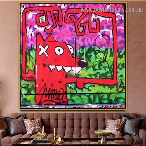 Red Dog Animal Botanical Graffiti Artwork Picture Canvas Print for Room Wall Décor