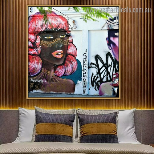 Pink Haired Woman Figure Typography Graffiti Artwork Portrait Canvas Print for Room Wall Garniture