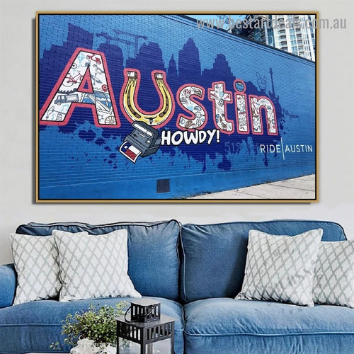 Austin Howdy Abstract Typography Graffiti Artwork Portrait Canvas Print for Room Wall Adornment