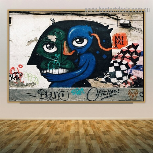 Abstract Face Typography Graffiti Portrait Photo Canvas Print for Room Wall Adornment