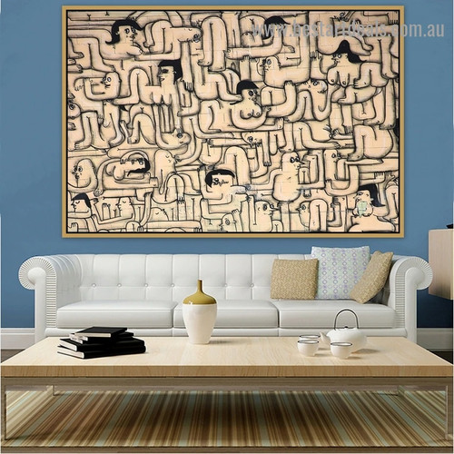 Nude Humans Graffiti Artwork Picture Canvas Print for Room Wall Drape