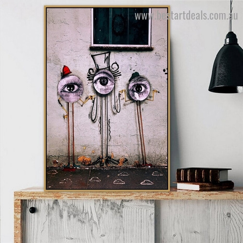 Three Eyes Abstract Illustration Graffiti Portrait Photo Canvas Print for Room Wall Garniture