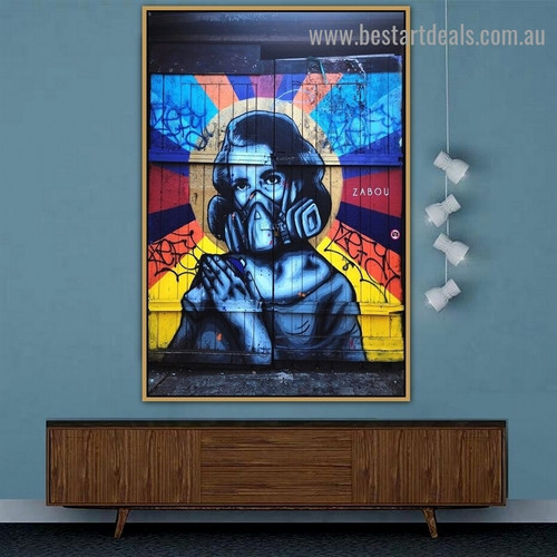 Gas Mask Woman Abstract Figure Typography Graffiti Portrait Photo Canvas Print for Room Wall Décor
