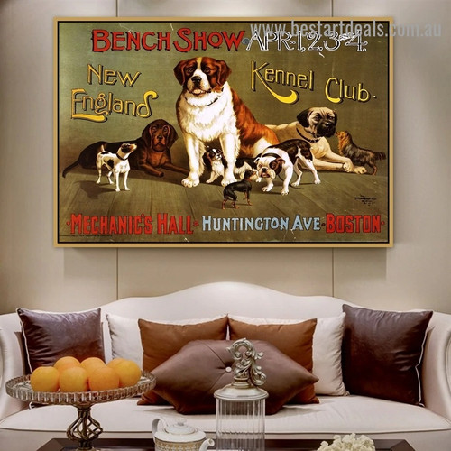 New England Kennel Club Animal Retro Vintage Advertisement Portrait Image Canvas Print for Room Wall Adornment