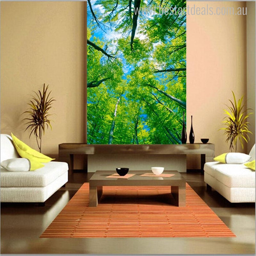 Green Trees Botanical Nature Canvas Artwork Portrait Print for Home Wall Getup