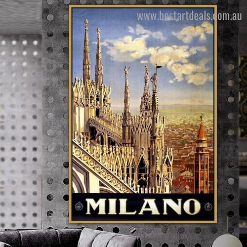 Milano Vintage City Retro Advertisement Poster Portrait Image Canvas Print for Room Wall Garniture