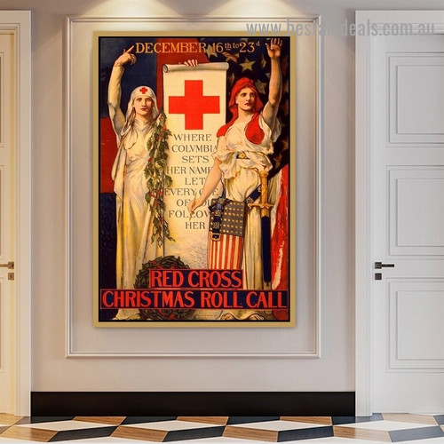 Red Cross Christmas Roll Call Vintage Figure Retro Advertisement Artwork Picture Canvas Print for Room Wall Garniture