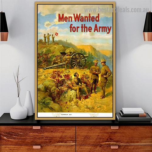 Men Wanted for the Army Figure Botanical Landscape Retro Advertisement Artwork Portrait Canvas Print for Room Wall Garniture