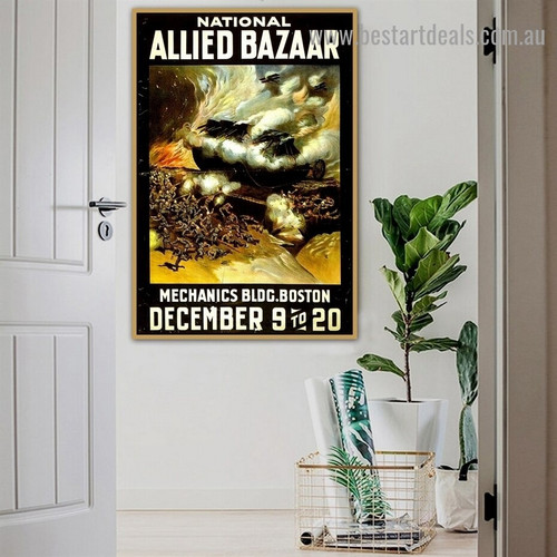 National Allied Bazaar Figure Landscape Reproduction Advertisement Poster Portrait Painting Canvas Print for Room Wall Adornment