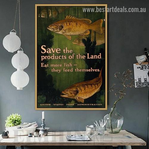 Eat More Fish Animal Landscape Vintage Retro Advertisement Poster Portrait Image Canvas Print for Room Wall Decoration