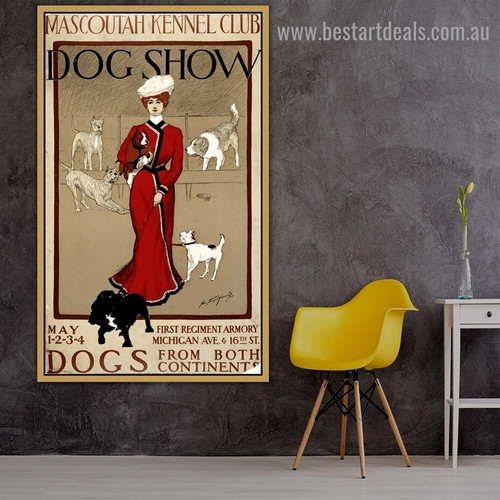 Mascoutah Kennel Club Dog Show Vintage Animal Figure Reproduction Advertisement Artwork Photo Canvas Print for Room Wall Adornment
