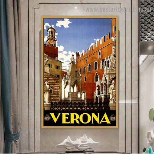 Verona Travel City Vintage Reproduction Advertisement Artwork Picture Canvas Print for Room Wall Ornament