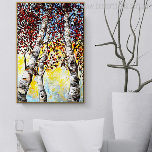 Red Leaves Modern Botanical Nature Smudge Canvas Print for Living Room Wall Finery