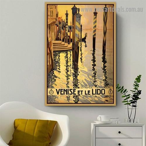 Venise ET Le Lido City Landscape Vintage Retro Advertisement Portrait Image Canvas Print for Room Wall Garniture