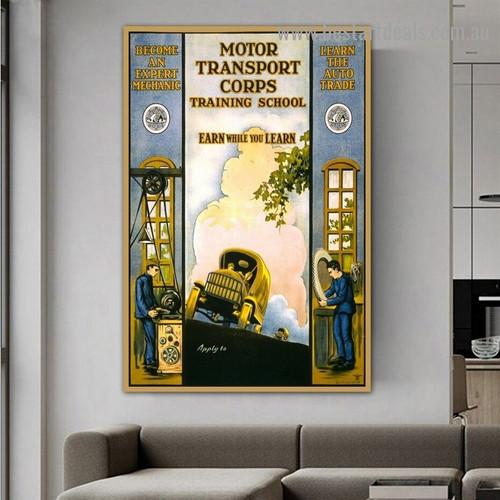 Motor Transport Corps Figure Travel Retro Vintage Advertisement Portrait Picture Canvas Print for Room Wall Ornament