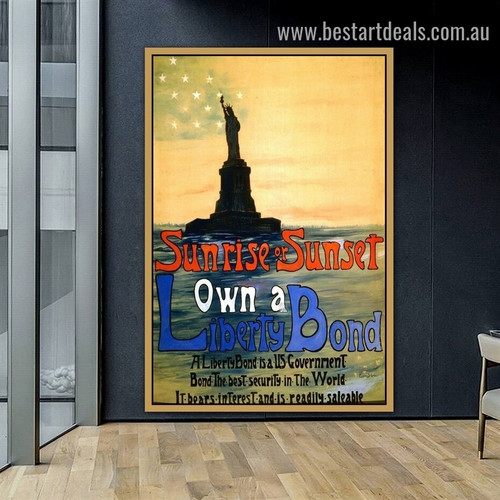 Sunrise or Sunset Own a Liberty Bond Architecture Landscape Vintage Reproduction Advertisement Artwork Photo Canvas Print for Room Wall Decoration
