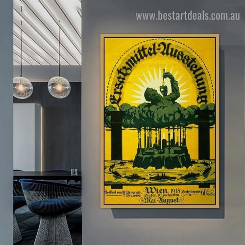 Ersatzmiddel Ausstellung Landscape Vintage Ad Artwork Picture Canvas Print for Room Wall Drape