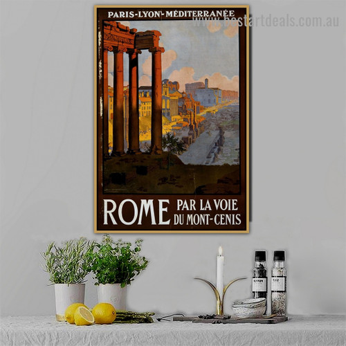 Ruins of Rome City Travel Retro Vintage Advertisement Portrait Image Canvas Print for Room Wall Garniture