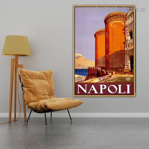 Napoli Vintage Landscape Travel Retro Advertisement Portrait Image Canvas Print for Room Wall Décor