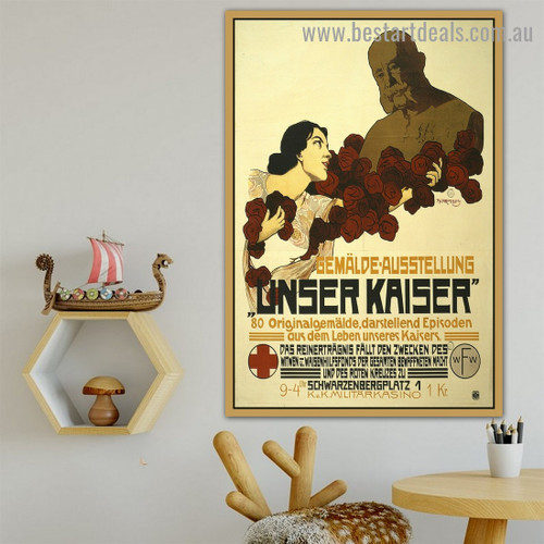Unser Kaiser Vintage Botanical Figure Reproduction Advertisement Poster Artwork Picture Canvas Print for Room Wall Adornment