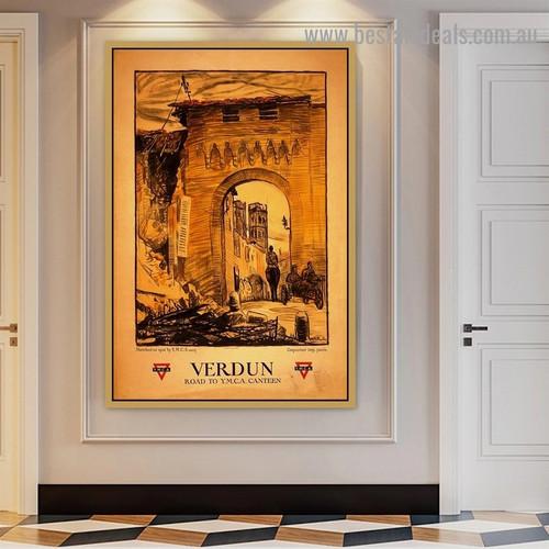 Verdun Vintage City Landscape Retro Reproduction Ad Portrait Painting Canvas Print for Room Wall Ornament
