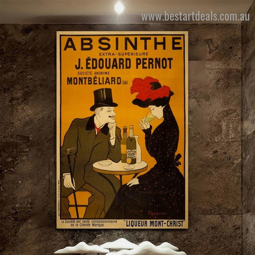 Absinthe Vintage Figure Reproduction Advertisement Poster Artwork Picture Canvas Print for Room Wall Drape