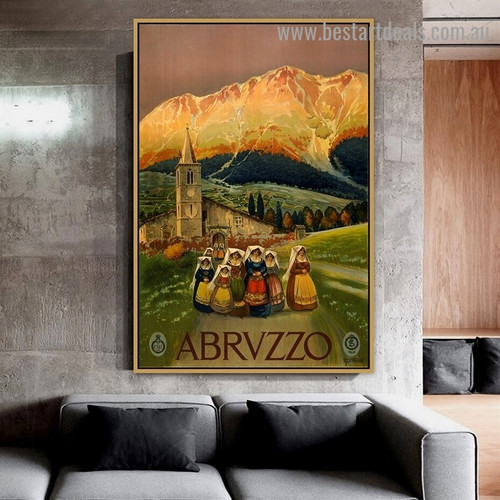 Abrvzzo Vintage Botanical Figure Landscape Retro Advertisement Portrait Photo Canvas Print for Room Wall Decoration